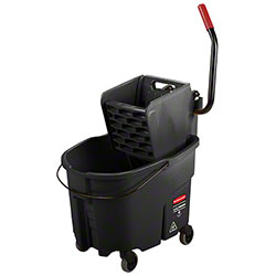 Rubbermaid® Executive WaveBrake® Side-Press Bucket & Wringer - 35 Qt., Black