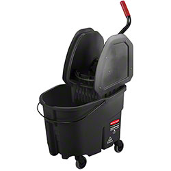 Rubbermaid® Executive WaveBrake® Down-Press Bucket & Wringer -35 Qt., Black