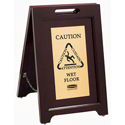 Rubbermaid® Executive Wooden Multilingual Caution Sign