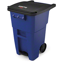 Rubbermaid® BRUTE® Step-On Rollout - 50 Gal., Blue
