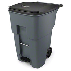Rubbermaid® BRUTE® Step-On Rollout - 95 Gal., Gray