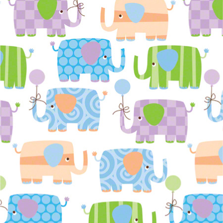 Shamrock Baby Elephants Gift Wrap - 100'