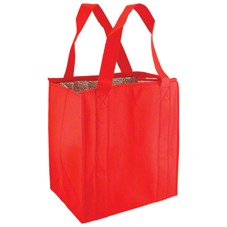 "Shamrock Non-Woven Thermo Tote - 13"" x 10"" x 15"", Red"