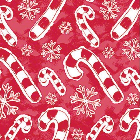 "Shamrock Flakes & Candy Canes Gift Wrap - 24"" x 100'"