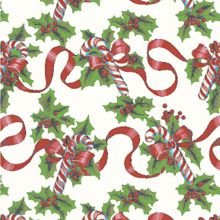 Shamrock Red Ribbons & Canes Gift Wrap - 100'