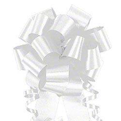 "Shamrock Flora-Satin® Bow - 4"", White"