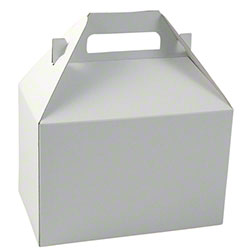"Shamrock White Kraft Gable Box - 8"" x 4 7/8"" x 5 1/4"""