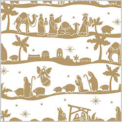 "Shamrock Nativity Gift Wrap - 24"" x 833'"