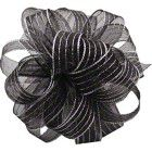 Shamrock Striped Chiffon Ribbons & Bows - Black/Silver