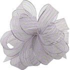 Shamrock Striped Chiffon Ribbons & Bows - Silver/Silver