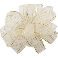 Shamrock Striped Chiffon Ribbons & Bows - White/Gold