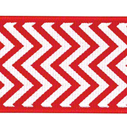Shamrock Chevron Grosgrain Ribbon - Red/White