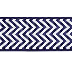 Shamrock Chevron Grosgrain Ribbon - Navy/White