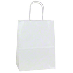 Shamrock White Gloss Paper Shopping Bags