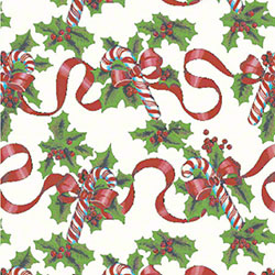 Shamrock Red Ribbons & Canes Gift Wrap