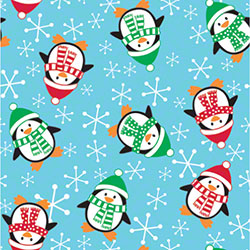 Shamrock Roly Poly Penguins Gift Wrap