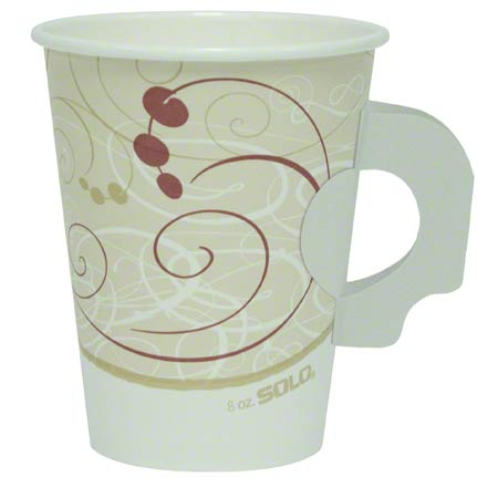 Solo® Symphony™ Single Poly Paper Hot Cup-8 oz., Handle