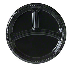 "Solo® Party Plastic Plate - 10.25"" 3 Cmpt., Black"