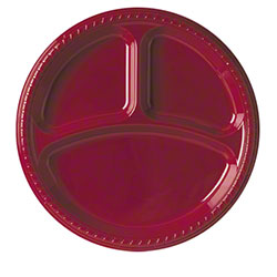 "Solo® Party Plastic Plate - 10.25"" 3 Cmpt., Red"
