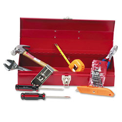 16-Piece Light Duty Office Tool Kit in 16 Red Metal Box