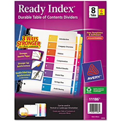 """Avery® Multicolor Ready Index® """"1-8"""" Contents Dividers"""
