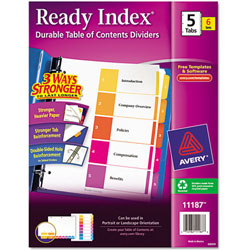 """Avery® Multicolor Ready Index® """"1-5"""" Contents Dividers"""