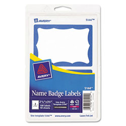Avery® Blue Print/Write Self-Adhesive Badge-2 11/32x3 3/8