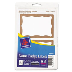 Avery® Gold Print/Write Self-Adhesive Badge-2 11/32x3 3/8