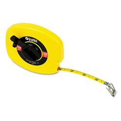 "GN Yellow Steel English Rule Measuring Tape - 3/8"" x 100'"