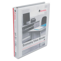 Universal White Economy D-Ring Vinyl View Binder - 1""