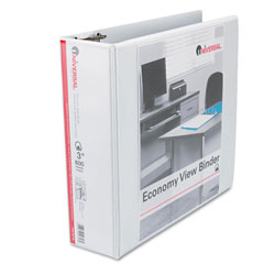 Universal White Economy D-Ring Vinyl View Binder - 3""