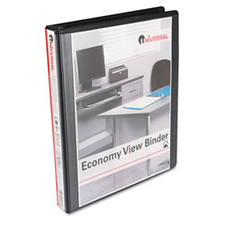 Universal Black Round Ring Economy Vinyl View Binder - 1""