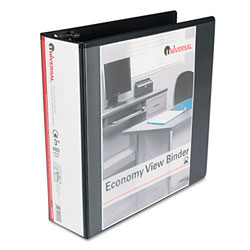 Universal Black Round Ring Economy Vinyl View Binder - 3""