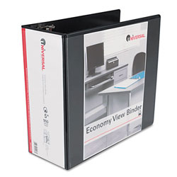 Universal Black Economy D-Ring Vinyl View Binder - 5""