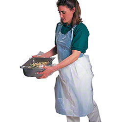 "Volk Work Clean® Disposable Poly Apron - 28"" x 46"", 1 mil"